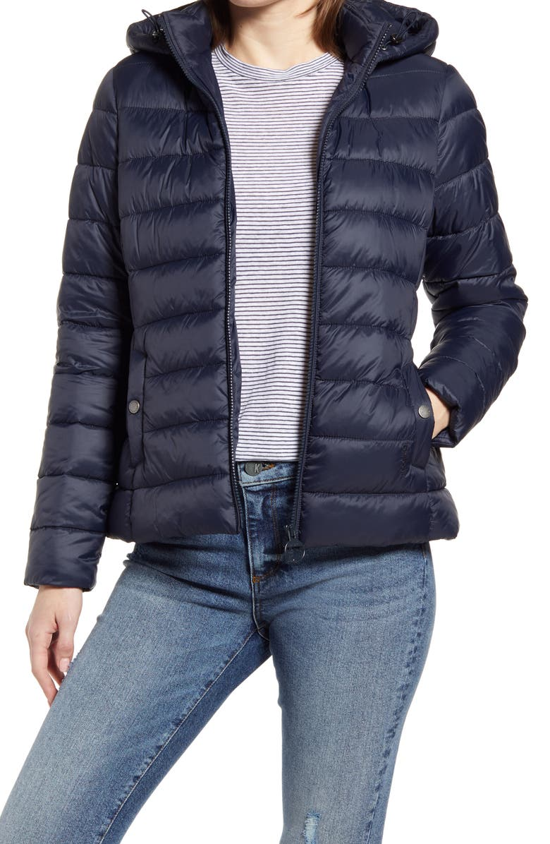 BARBOUR Shaw Hooded Puffer Jacket, Main, color, DARK NAVY