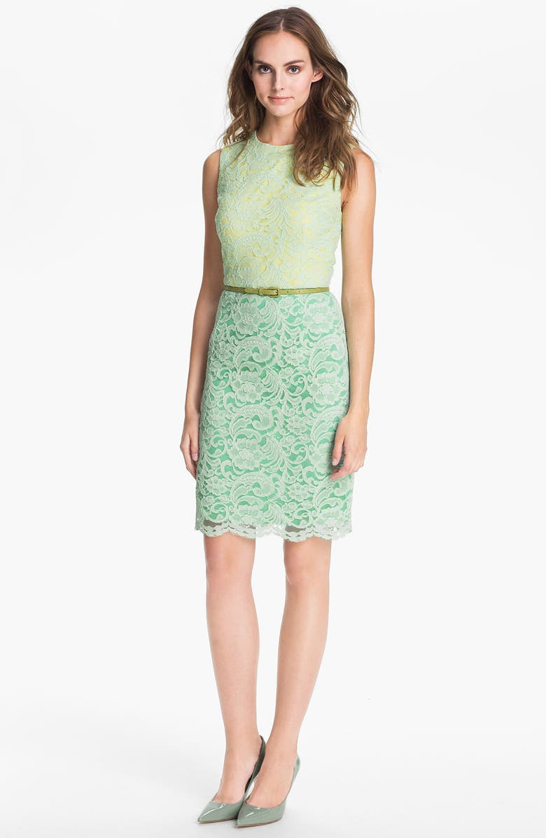 MAGGY LONDON Belted Lace Sheath Dress, Main, color, 440