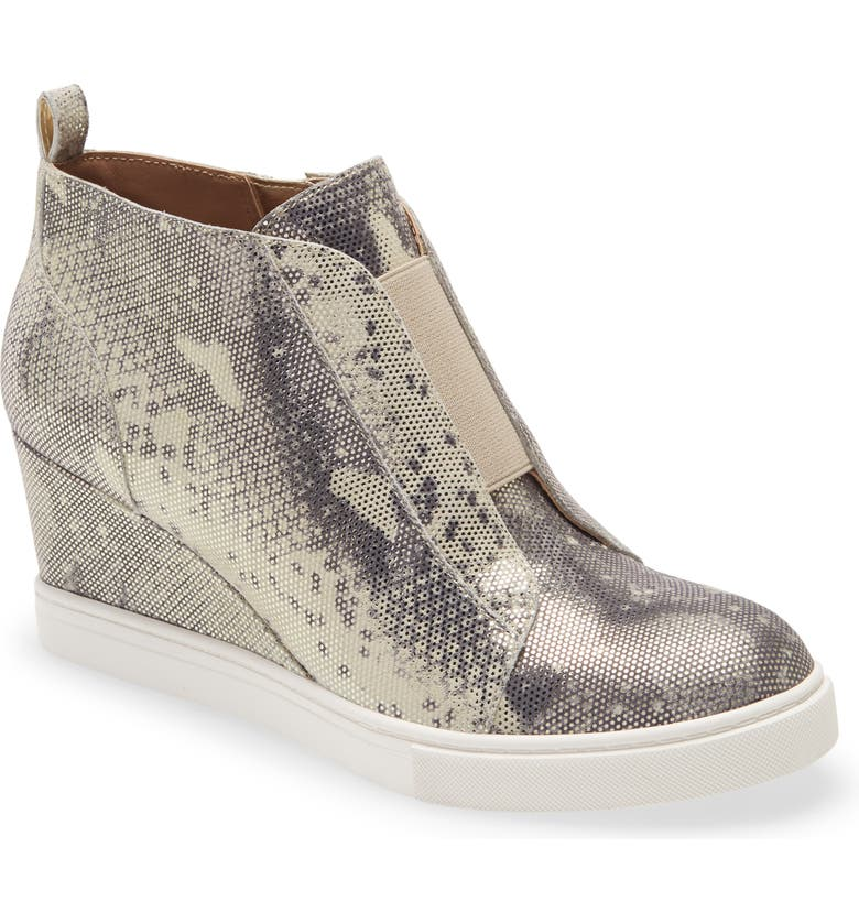 LINEA PAOLO Felicia III Wedge Sneaker, Main, color, CEMENT-PLATINO LEATHER