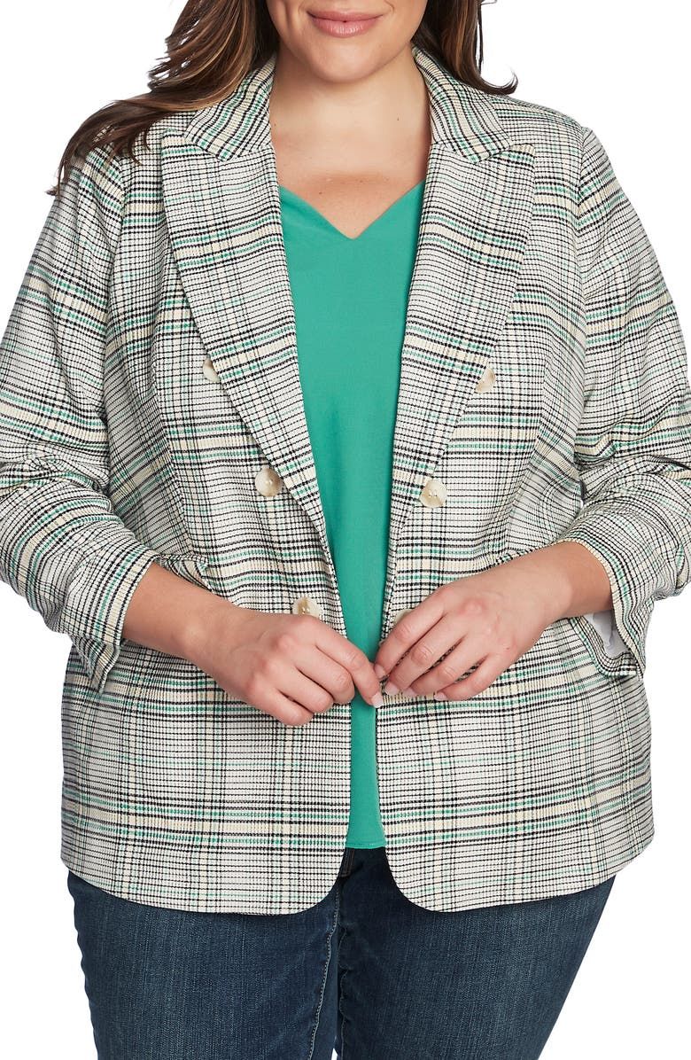 1.STATE Cassia Ruched Sleeve Plaid Blazer, Main, color, 300