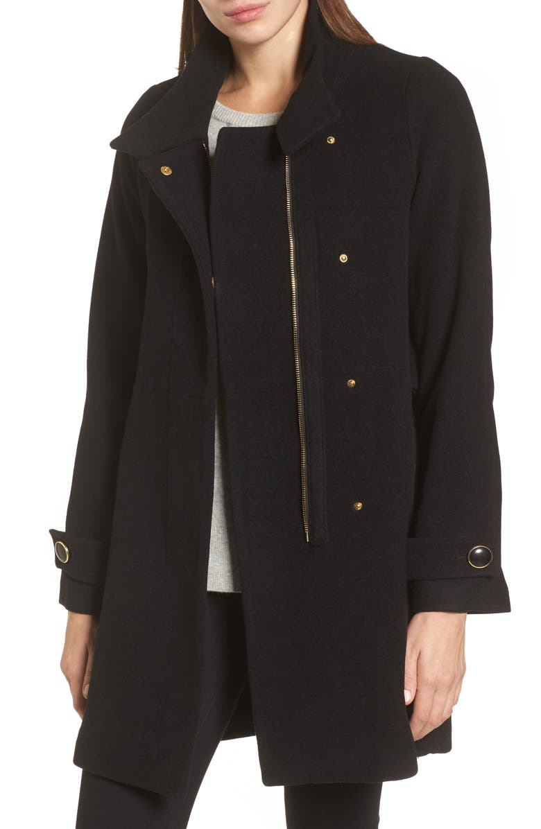 TRINA TRINA TURK Trina Turk Wool Blend Coat, Main, color, 001