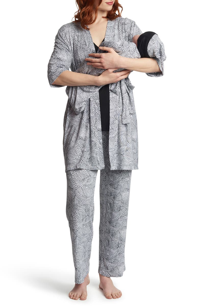 EVERLY GREY Analise During & After 5-Piece Maternity/Nursing Sleep Set, Main, color, TWILIGHT