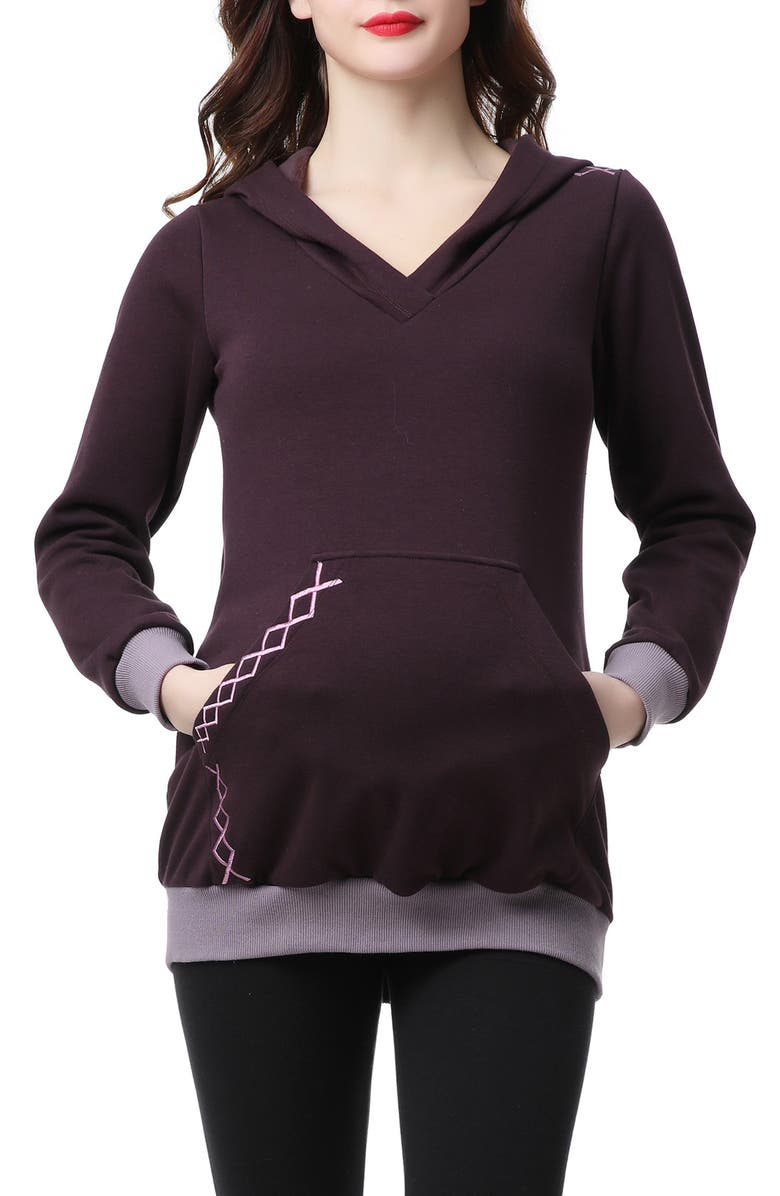 KIMI AND KAI Mandie Embroidered Maternity Hoodie, Main, color, 500