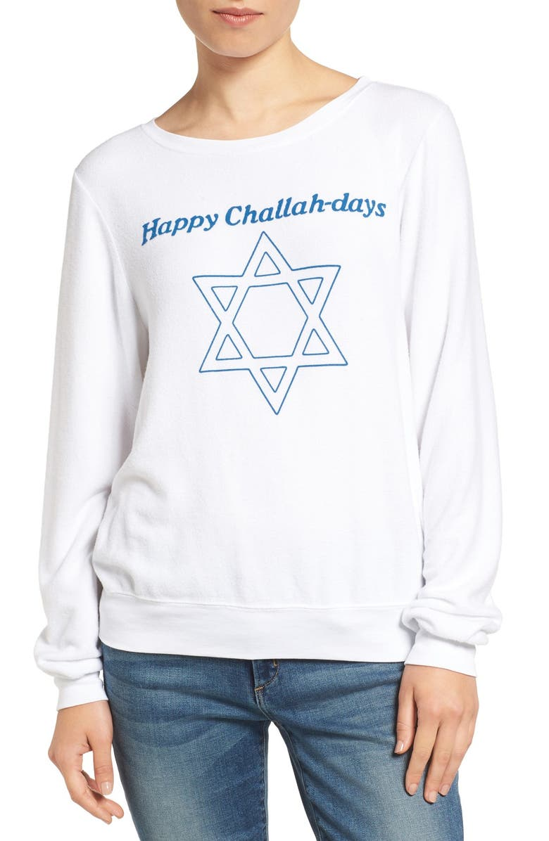 WILDFOX Happy Challahdays Pullover, Main, color, 100