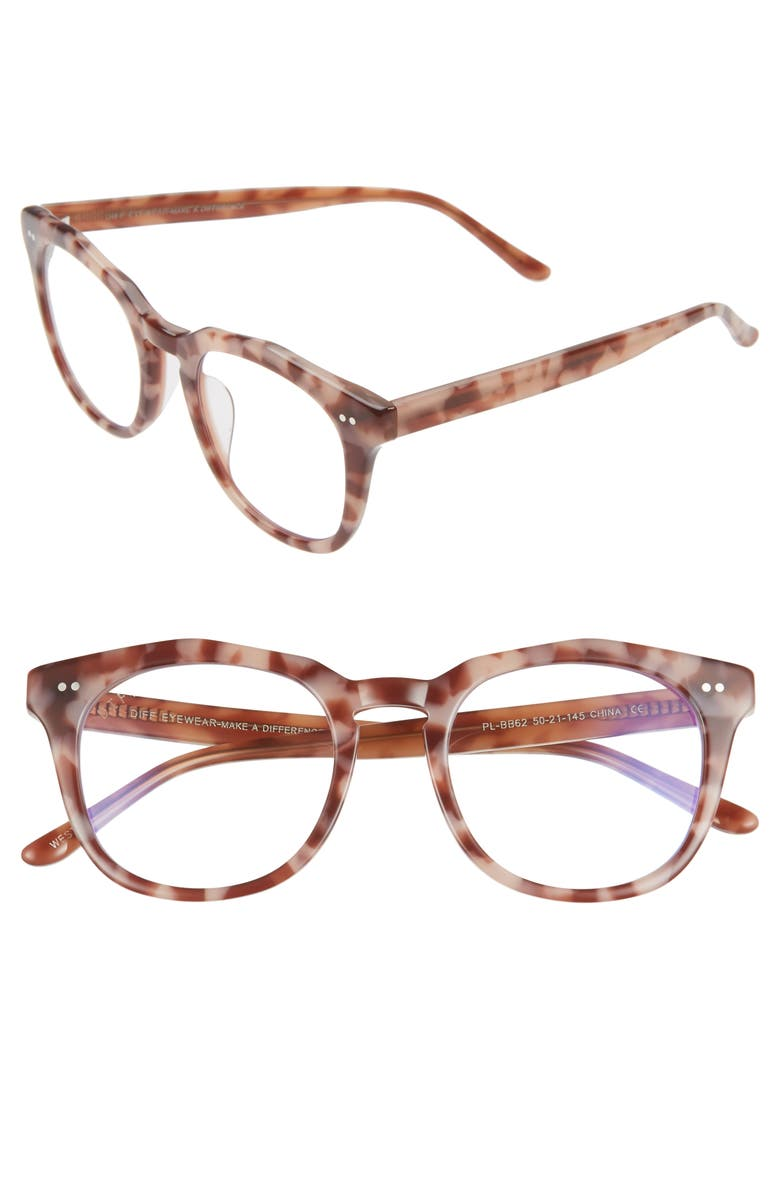 DIFF 50mm Blue Light Blocking Glasses, Main, color, PLUM TORTOISE/ CLEAR