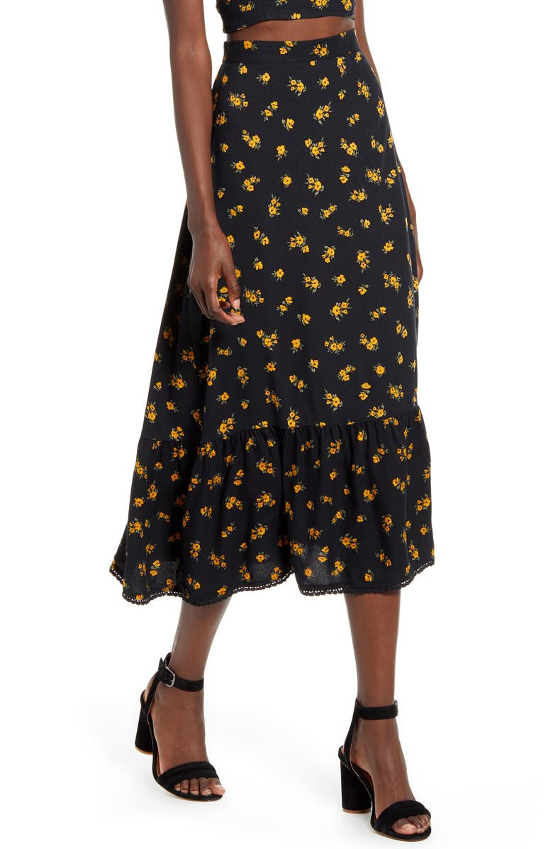 TEN SIXTY SHERMAN Floral Ruffle Hem Midi Skirt, Main, color, 001