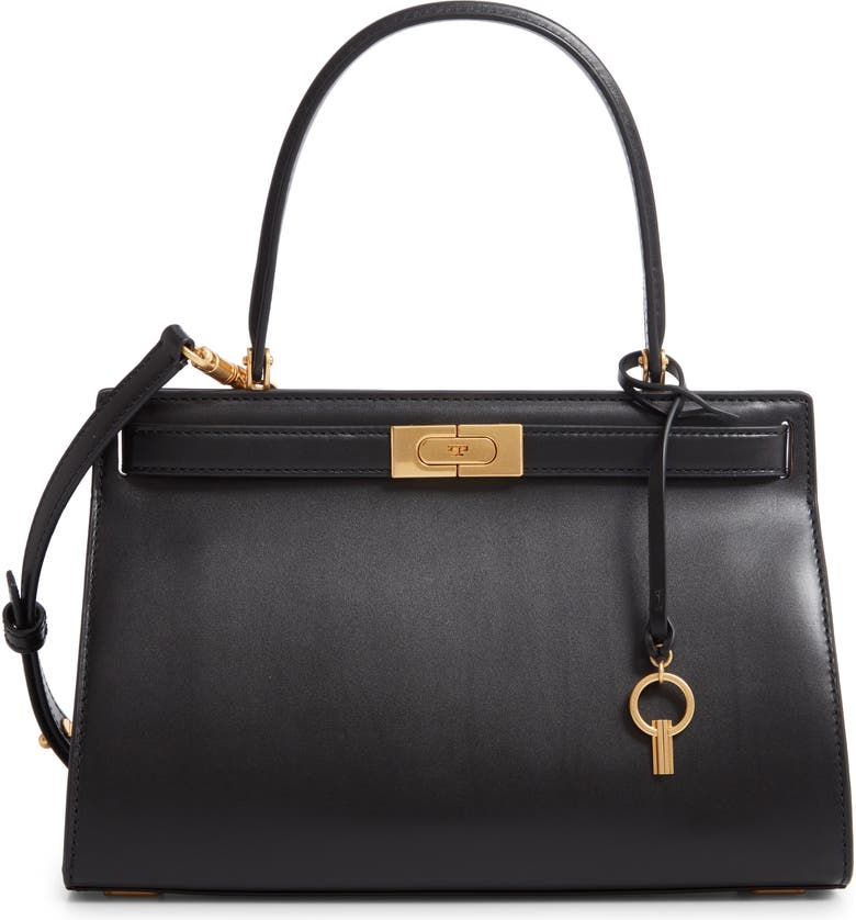 TORY BURCH Small Lee Radziwill Leather Bag, Main, color, BLACK