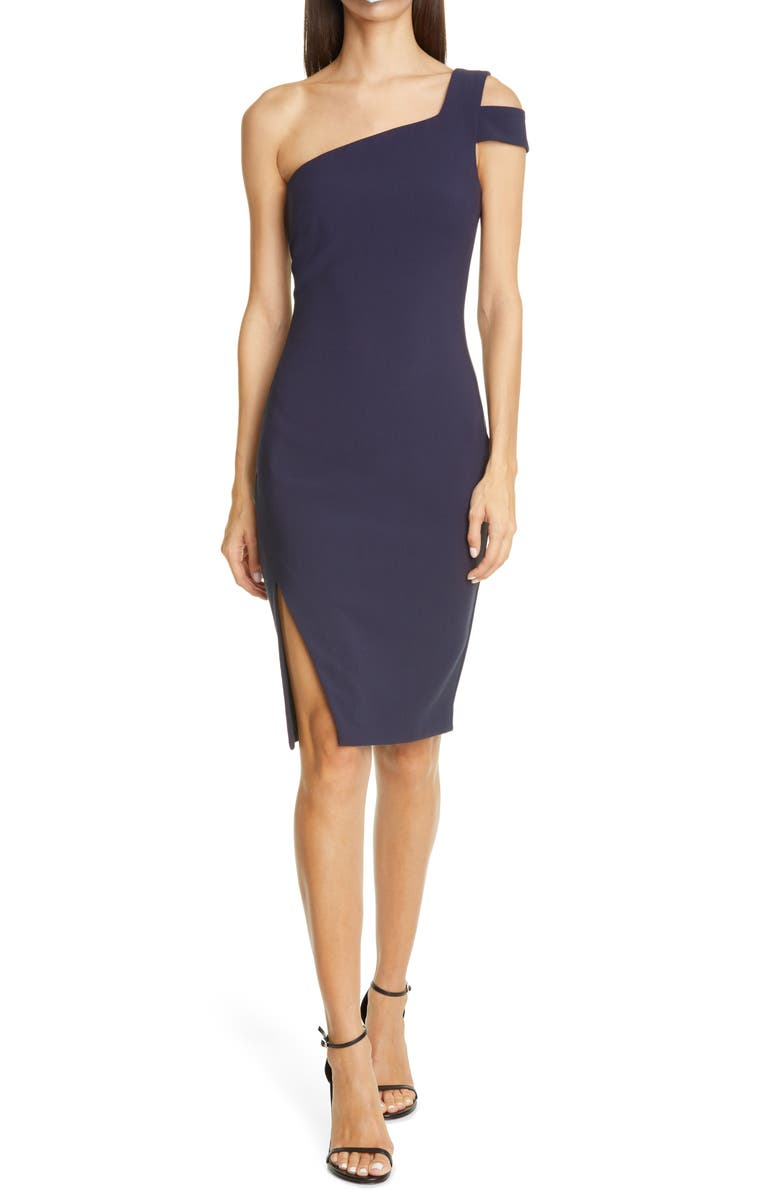 LIKELY Packard One-Shoulder Sheath Dress, Main, color, NAVY