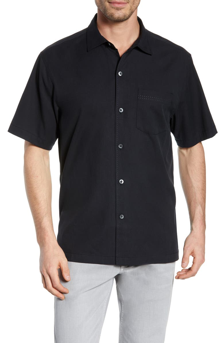 TOMMY BAHAMA Catalina Stretch Silk Blend Camp Shirt, Main, color, 001