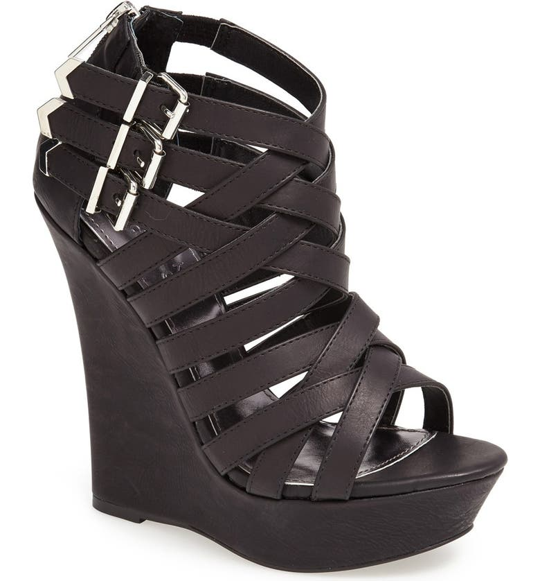 KENDALL + KYLIE Madden Girl 'Fortune' Wedge Sandal, Main, color, 001