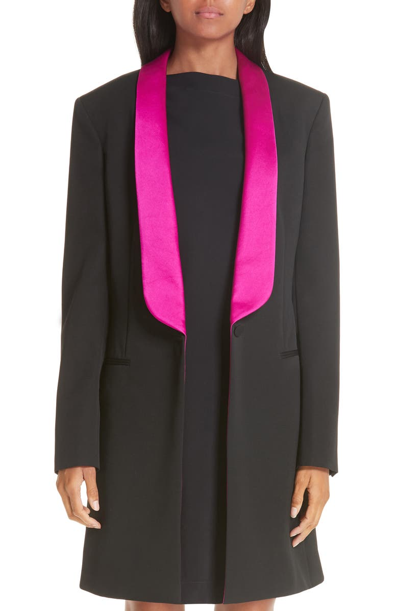 CALVIN KLEIN 205W39NYC Contrast Lapel Wool Gabardine Jacket, Main, color, 008