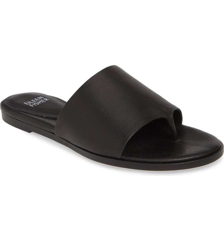 EILEEN FISHER Edge Sandal, Main, color, BLACK WASHED LEATHER