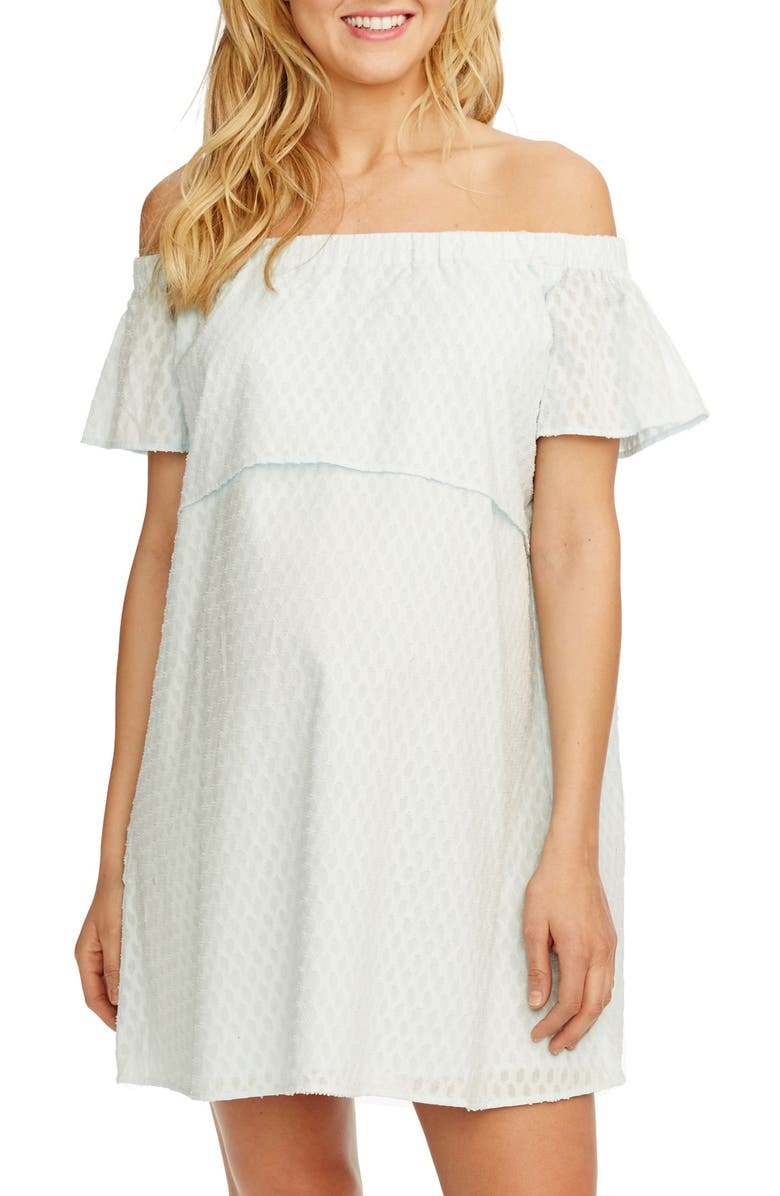 ROSIE POPE 'Camille' Off the Shoulder Maternity Dress, Main, color, 450