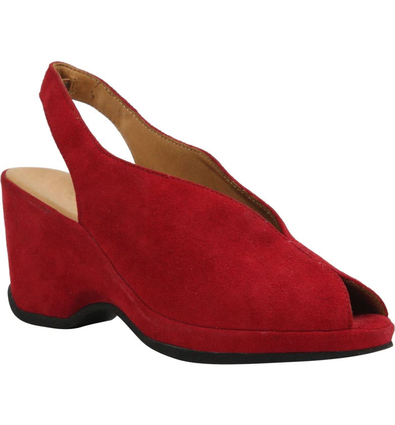 L'AMOUR DES PIEDS Odetta Slingback Wedge, Main, color, BRIGHT RED SUEDE