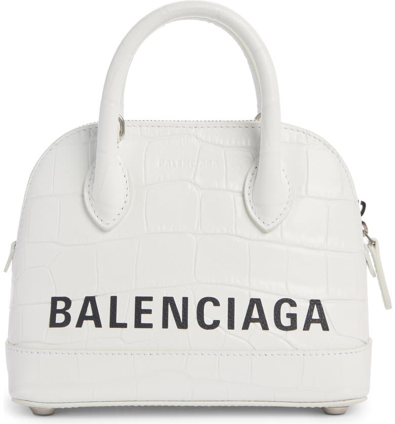 BALENCIAGA Extra Extra Small Ville Logo Croc-Embossed Leather Crossbody Satchel, Main, color, 125