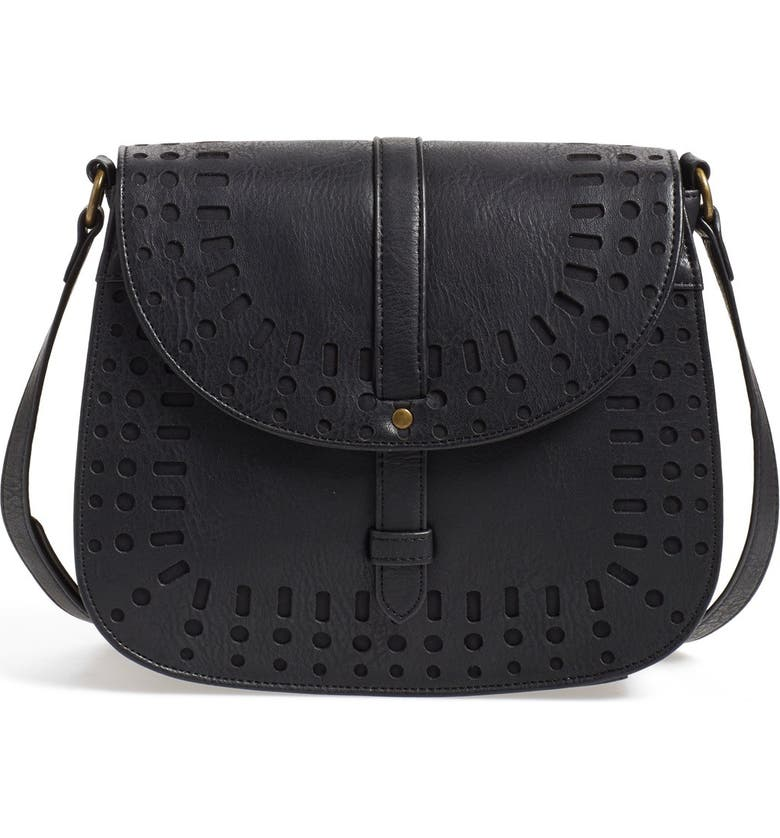 DIRTY BALLERINA Perforated Faux Leather Saddle Crossbody Bag, Main, color, 001