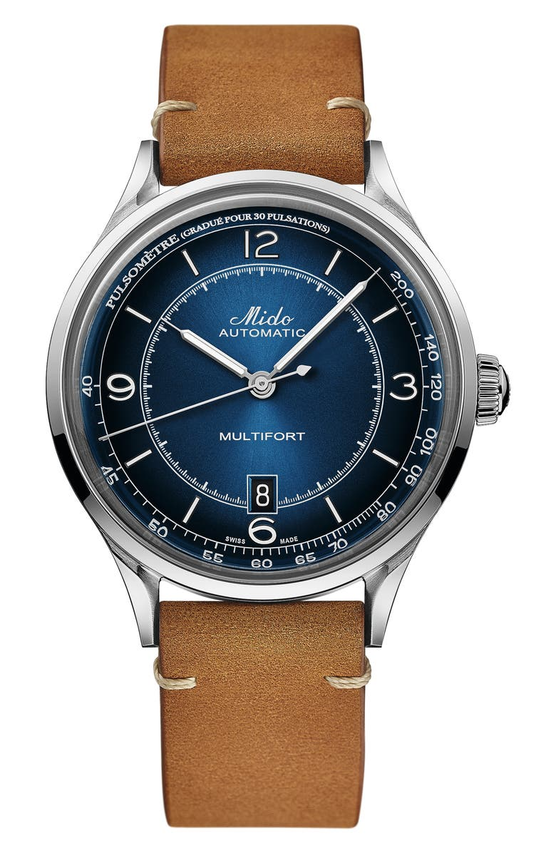 MIDO Multifort Pulsemeter Automatic Leather Strap Watch, 40mm, Main, color, BROWN/ BLUE/ SILVER