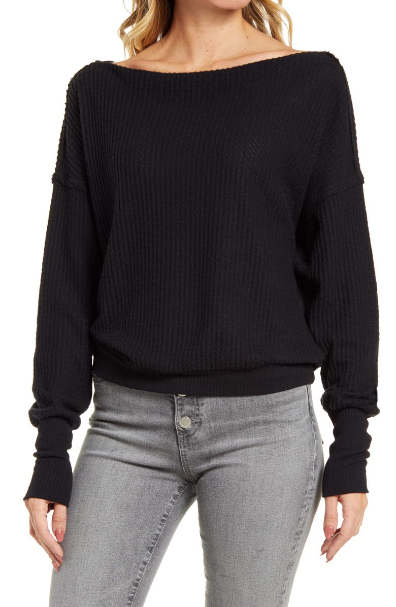 TREASURE & BOND Off the Shoulder Thermal Knit Top, Main, color, BLACK