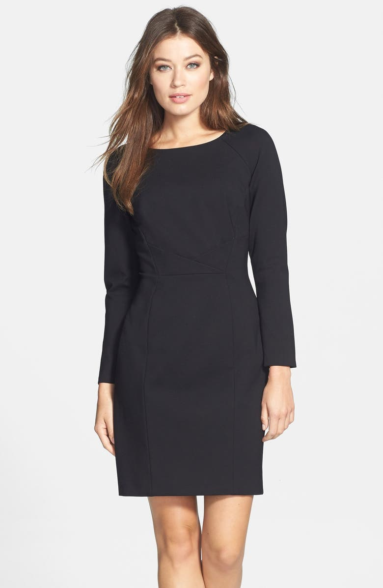 TAHARI Pleat Detail Long Sleeve Ponte Sheath Dress, Main, color, 001