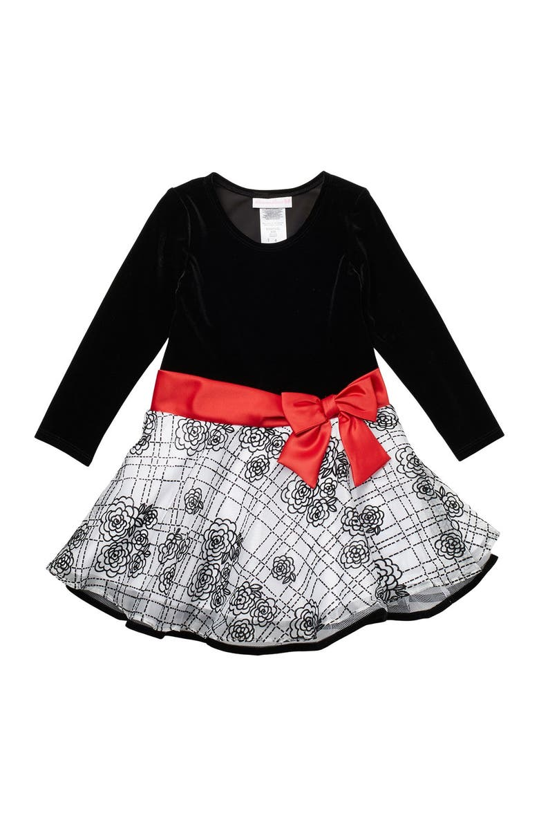 GERSON AND GERSON Flocked Dress, Main, color, B/ W