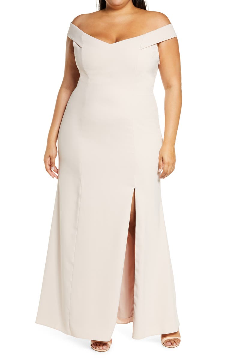 DESSY COLLECTION Off the Shoulder Crossback Gown, Main, color, CAMEO