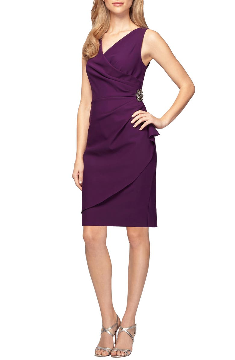 ALEX EVENINGS Side Ruched Cocktail Dress, Main, color, SUMMER PLUM
