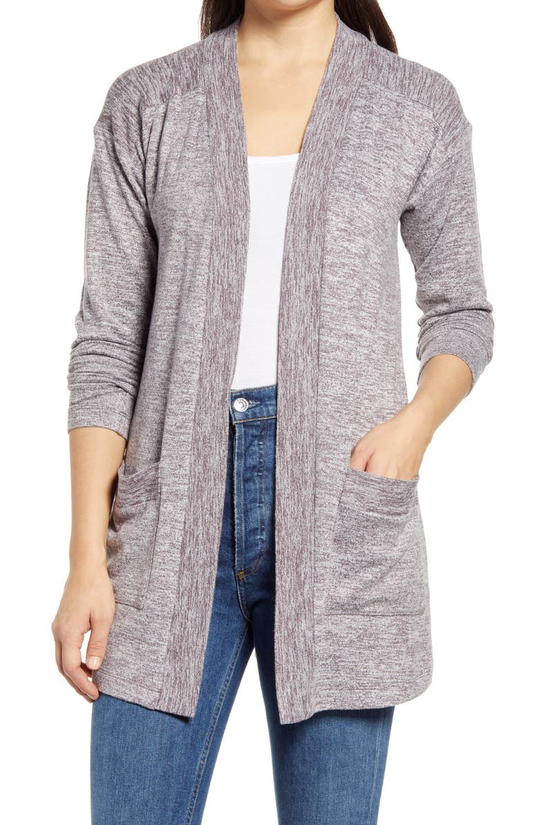 BOBEAU Knit Open Front Cardigan, Main, color, 020