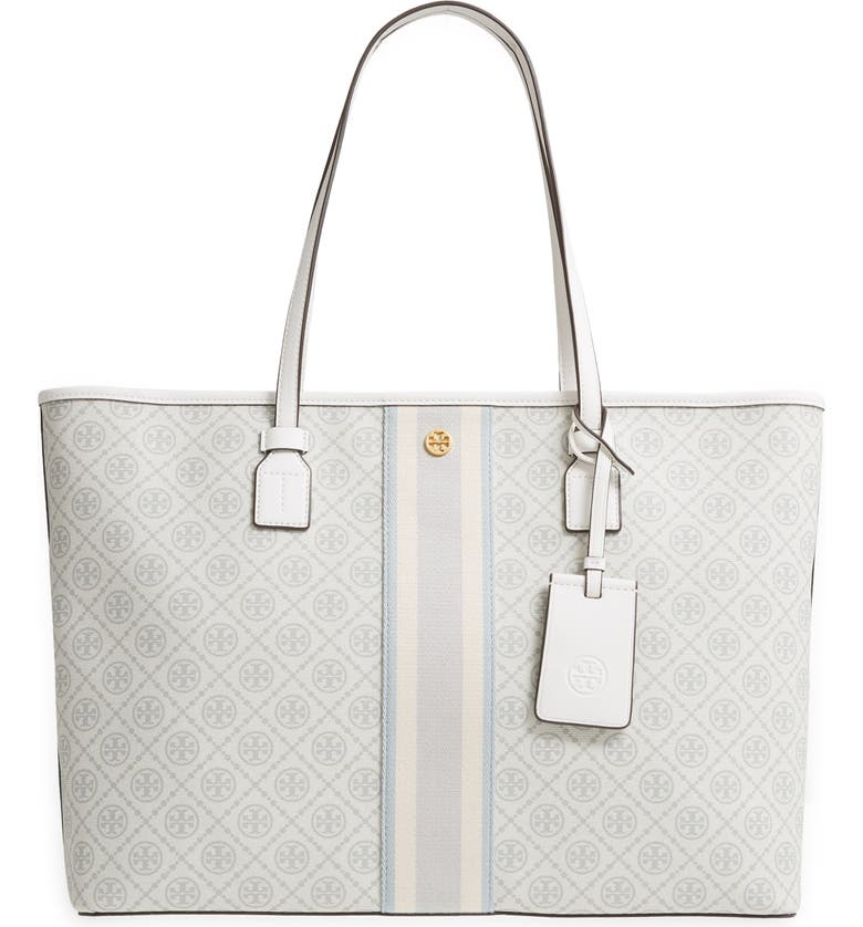 TORY BURCH T Monogram Coated Canvas Tote, Main, color, NEW IVORY