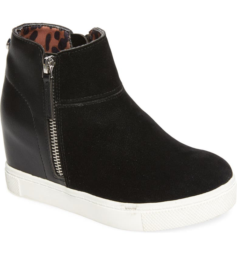 STEVE MADDEN Renny High Top Wedge Sneaker, Main, color, 001