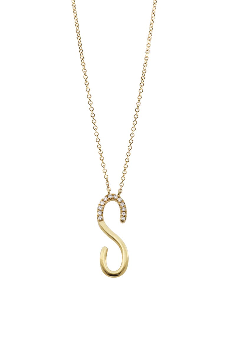 BONY LEVY Diamond Initial Pendant Necklace, Main, color, YELLOW GOLD-S