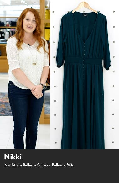 Desire Shirred Waist Button Front Maxi Dress, sales video thumbnail