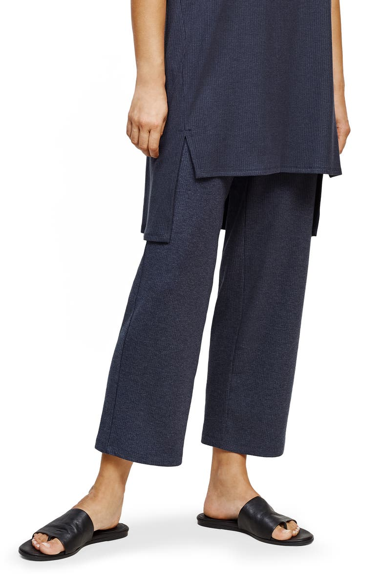 EILEEN FISHER Ribbed Wide Leg Pants, Main, color, NOCTURNE