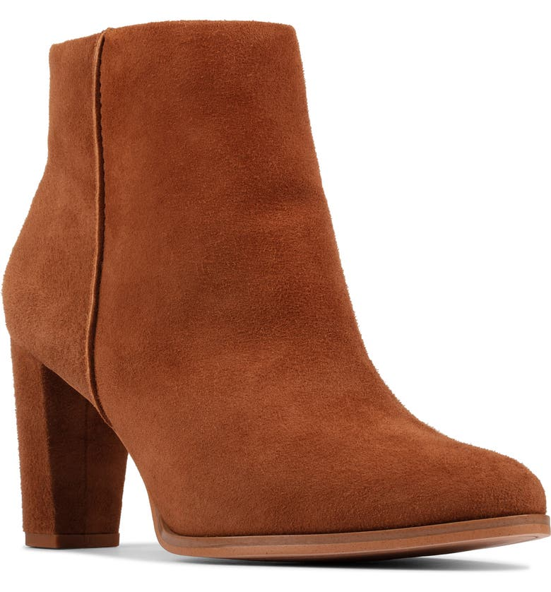 CLARKS<SUP>®</SUP> Kaylin Fern Bootie, Main, color, DARK TAN SUEDE