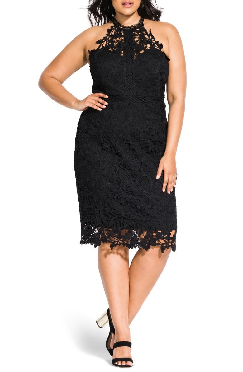 CITY CHIC Victorian Lace Cocktail Dress, Main, color, 001