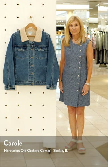 Denim Trucker Jacket with Faux Shearling Collar, sales video thumbnail