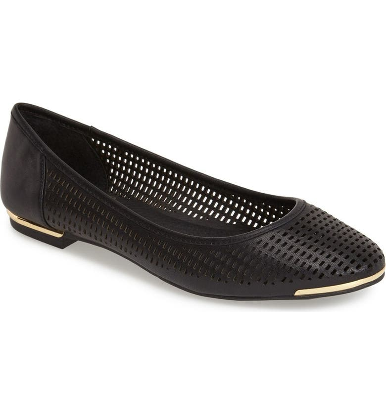 VINCE CAMUTO 'Caya' Perforated Leather Ballet Flat, Main, color, Black