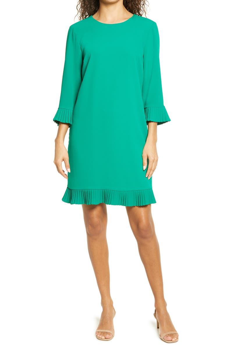 CECE Pleat Detail Moss Crepe Shift Dress, Main, color, VIBRANT KELLY