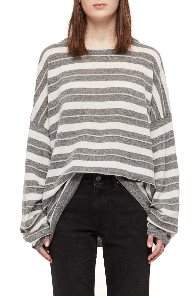 ALLSAINTS Cassia Stripe Boat Neck Sweater, Main, color, 020