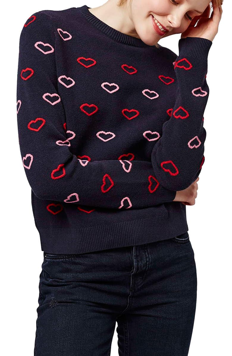 TOPSHOP Embroidered Heart Sweater, Main, color, 410