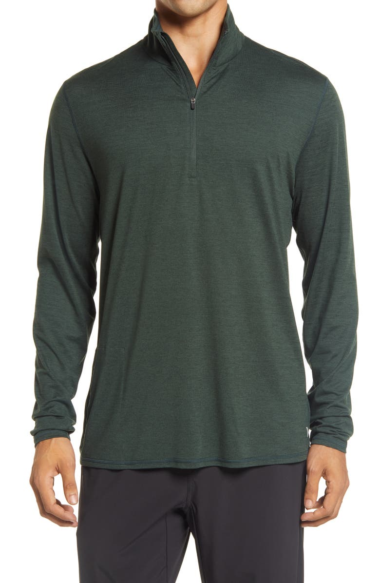 VUORI Ease Performance Half-Zip Pullover, Main, color, BLACKENED GREEN HEATHER