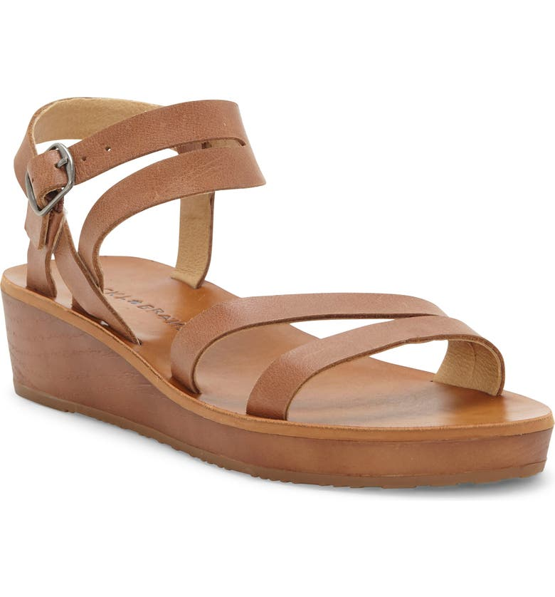 LUCKY BRAND Hecilia Wedge Sandal, Main, color, LATTE LEATHER