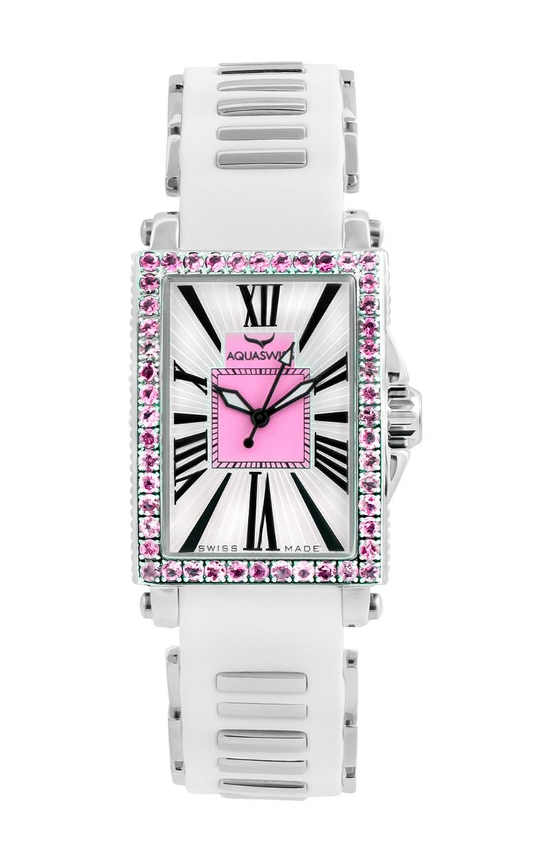 AQUASWISS Women's Kelly Silicone Strap Watch, 44.5, Main, color, WHITE-PINK