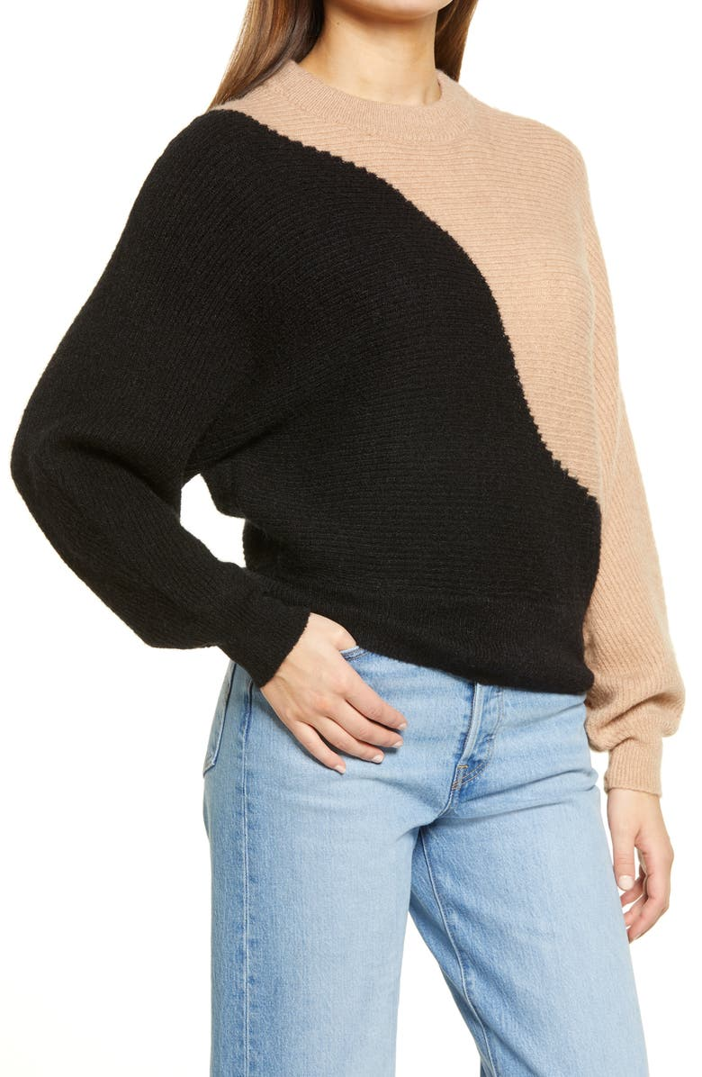 ALL IN FAVOR Colorblock Sweater, Main, color, 001
