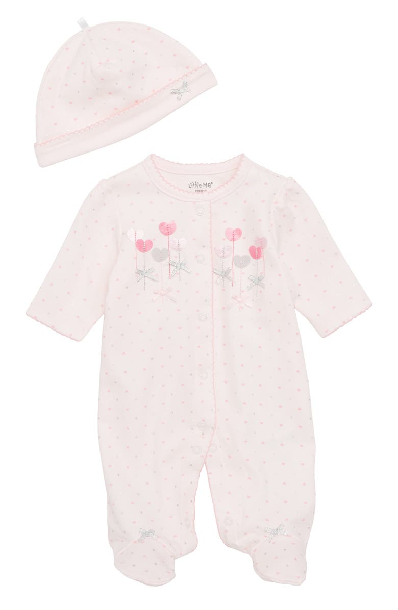 LITTLE ME Sweetheart Footie & Matching Cap, Main, color, BARELY PINK/ MULTI