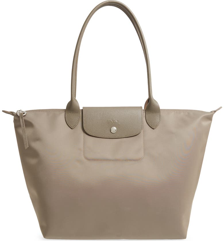 LONGCHAMP Large Le Pliage Nylon Tote, Main, color, TAUPE