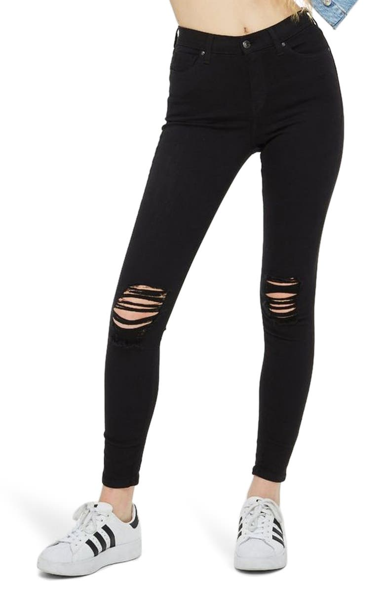 TOPSHOP Jamie High Waist Ripped Black Jeans, Main, color, 001