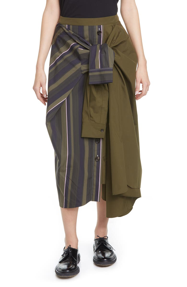 MARNI Tie Front Asymmetrical Cotton Midi Skirt, Main, color, 302