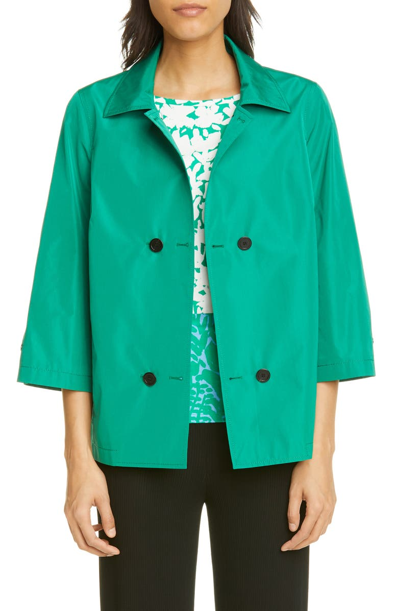 ST. JOHN COLLECTION Lightweight Taffeta Double Breasted Jacket, Main, color, 300