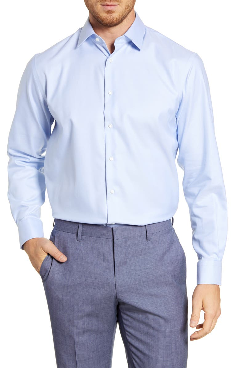 NORDSTROM Traditional Fit Non-Iron Solid Stretch Dress Shirt, Main, color, BLUE