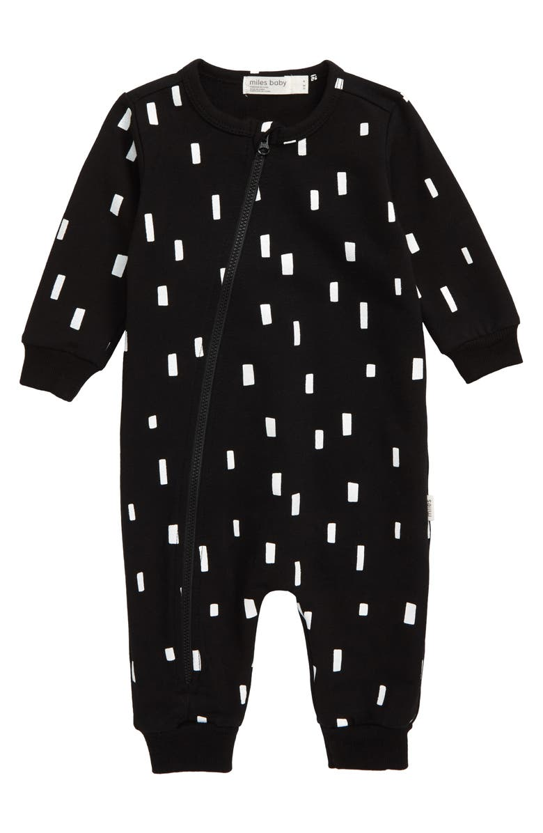 MILES baby Asymmetrical Zip Romper, Main, color, BLACK